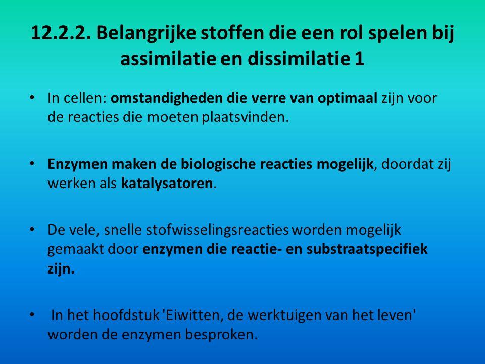 12.2.2. Belangrijke stoffen die een rol spelen bij assimilatie en dissimilatie 1 In cellen: omstandigheden die verre van optimaal zijn voor de reactie