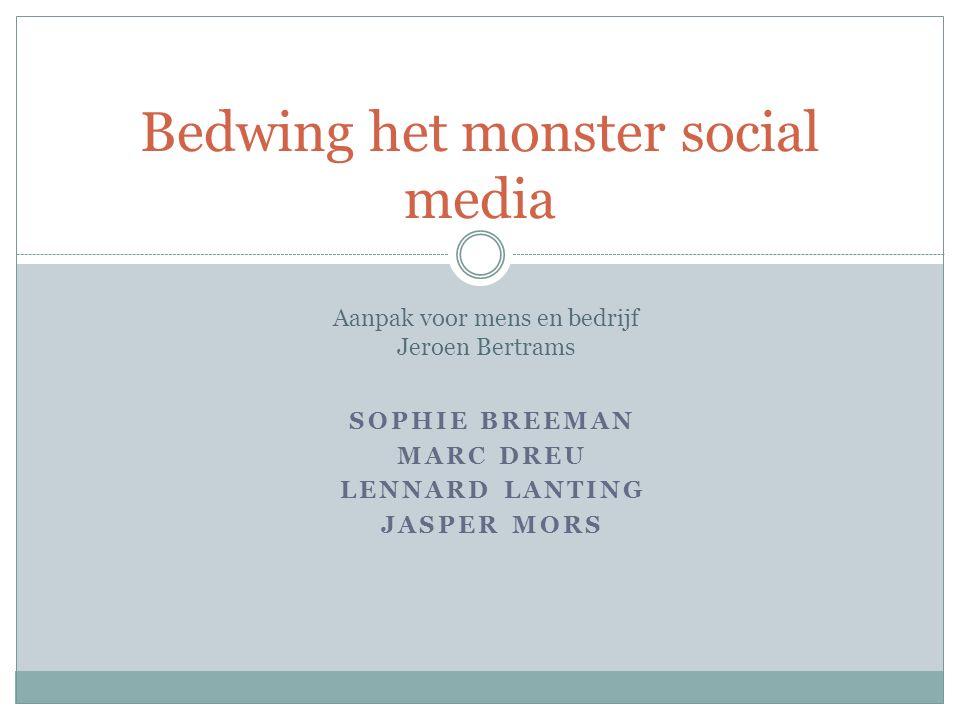 SOPHIE BREEMAN MARC DREU LENNARD LANTING JASPER MORS Bedwing het monster social media Aanpak voor mens en bedrijf Jeroen Bertrams