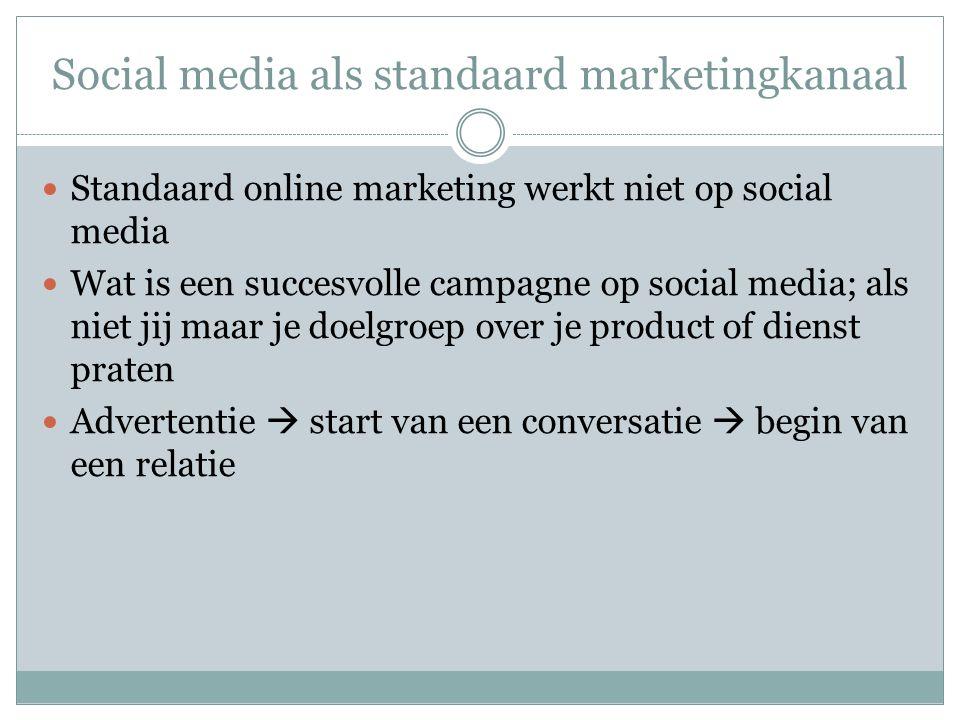 Social media als standaard marketingkanaal Standaard online marketing werkt niet op social media Wat is een succesvolle campagne op social media; als niet jij maar je doelgroep over je product of dienst praten Advertentie  start van een conversatie  begin van een relatie