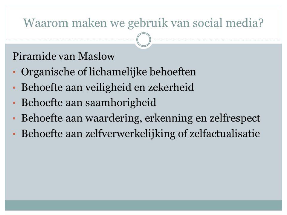 Waarom maken we gebruik van social media? Piramide van Maslow Organische of lichamelijke behoeften Behoefte aan veiligheid en zekerheid Behoefte aan s