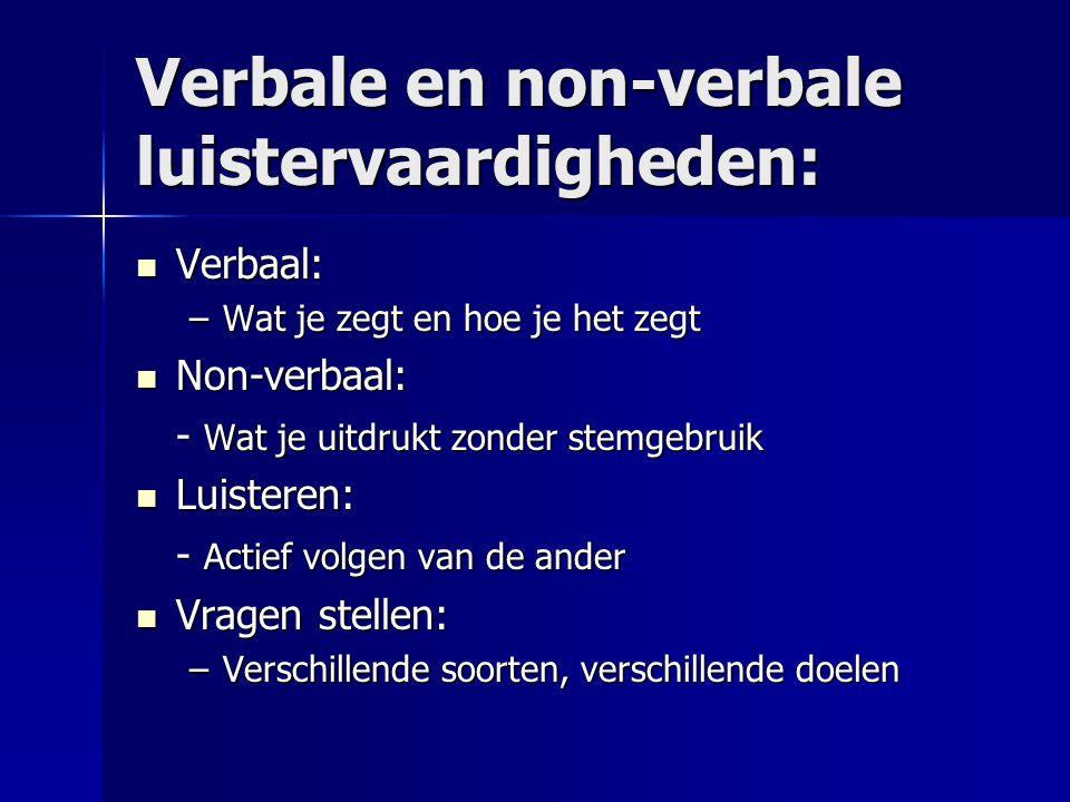 Verbale en non-verbale luistervaardigheden: Verbaal: Verbaal: –Wat je zegt en hoe je het zegt Non-verbaal: Non-verbaal: - Wat je uitdrukt zonder stemg