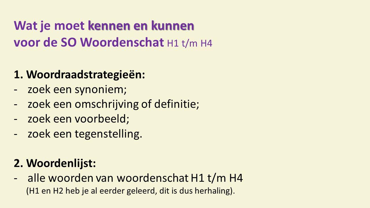 kennen en kunnen Wat je moet kennen en kunnen voor de SO Woordenschat H1 t/m H4 1.