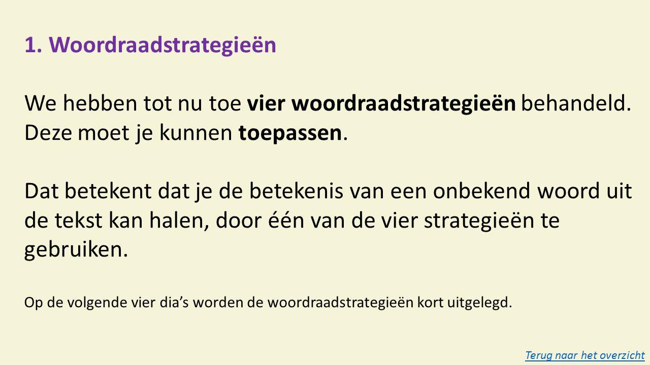 1. Woordraadstrategieën We hebben tot nu toe vier woordraadstrategieën behandeld.