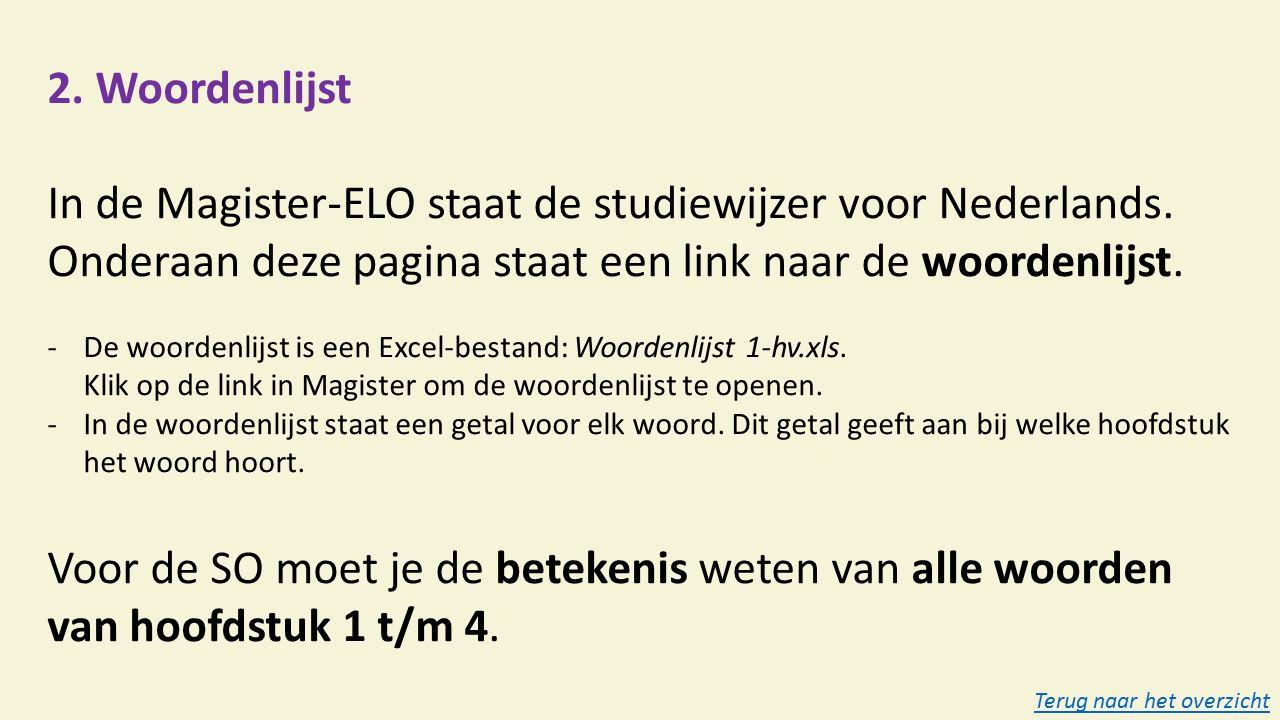 2. Woordenlijst In de Magister-ELO staat de studiewijzer voor Nederlands.