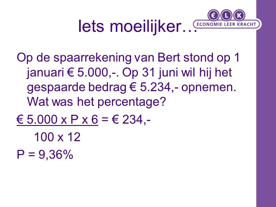 Iets moeilijker… Op de spaarrekening van Bert stond op 1 januari € 5.000,-.