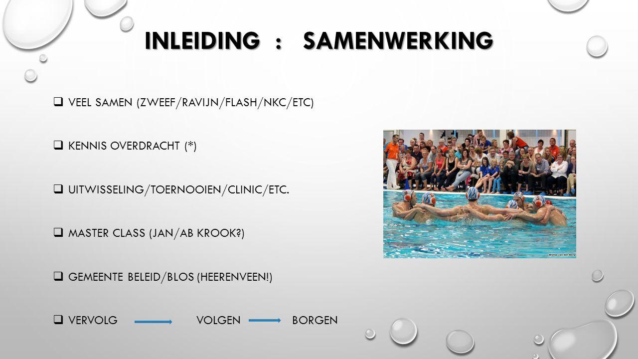 INLEIDING : SAMENWERKING  VEEL SAMEN (ZWEEF/RAVIJN/FLASH/NKC/ETC)  KENNIS OVERDRACHT (*)  UITWISSELING/TOERNOOIEN/CLINIC/ETC.