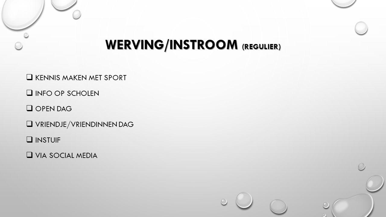 WERVING/INSTROOM (REGULIER)  KENNIS MAKEN MET SPORT  INFO OP SCHOLEN  OPEN DAG  VRIENDJE/VRIENDINNEN DAG  INSTUIF  VIA SOCIAL MEDIA