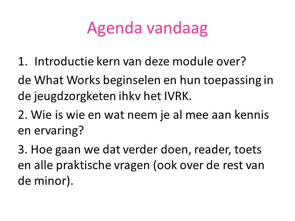 Agenda vandaag 1.Introductie kern van deze module over? de What Works beginselen en hun toepassing in de jeugdzorgketen ihkv het IVRK. 2. Wie is wie e