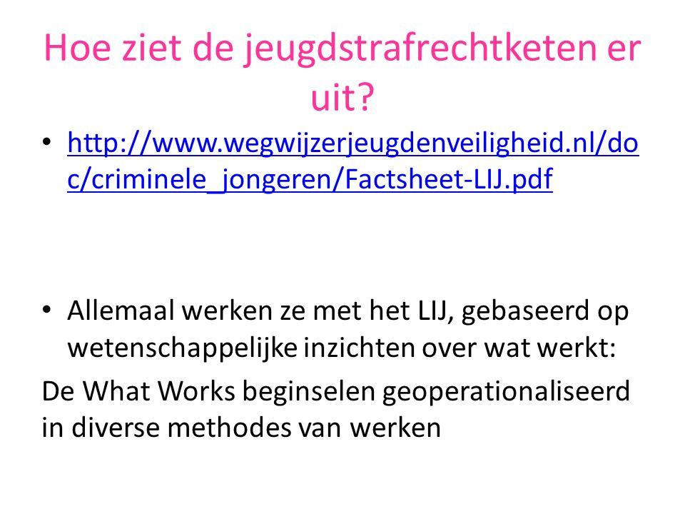 Hoe ziet de jeugdstrafrechtketen er uit? http://www.wegwijzerjeugdenveiligheid.nl/do c/criminele_jongeren/Factsheet-LIJ.pdf http://www.wegwijzerjeugde