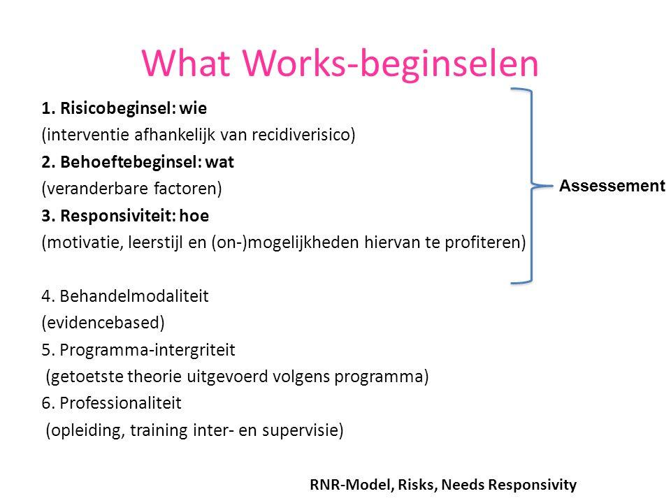 What Works-beginselen 1. Risicobeginsel: wie (interventie afhankelijk van recidiverisico) 2. Behoeftebeginsel: wat (veranderbare factoren) 3. Responsi