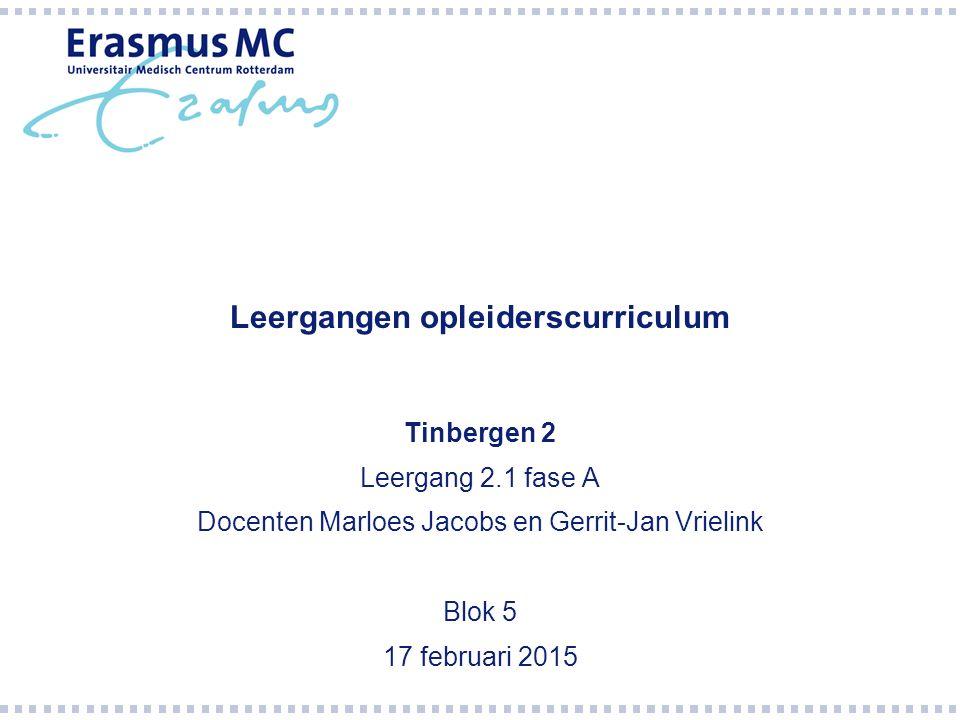 Leergangen opleiderscurriculum Tinbergen 2 Leergang 2.1 fase A Docenten Marloes Jacobs en Gerrit-Jan Vrielink Blok 5 17 februari 2015