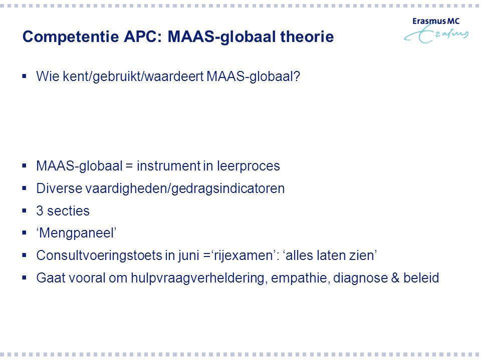 Competentie APC: MAAS-globaal theorie  Wie kent/gebruikt/waardeert MAAS-globaal.