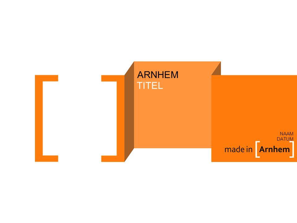 ARNHEM NAAM DATUM TITEL Voeg afbeelding in, klik rechts en kies Naar achtergrond, pas dan de tekst aan.