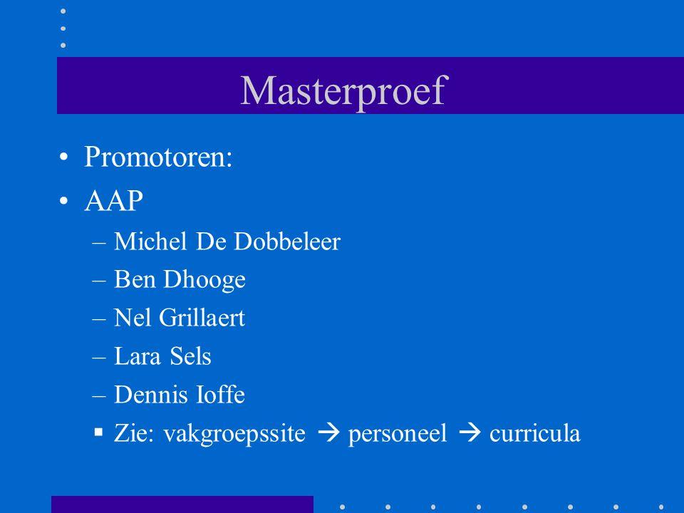 Masterproef Promotoren: AAP –Michel De Dobbeleer –Ben Dhooge –Nel Grillaert –Lara Sels –Dennis Ioffe  Zie: vakgroepssite  personeel  curricula