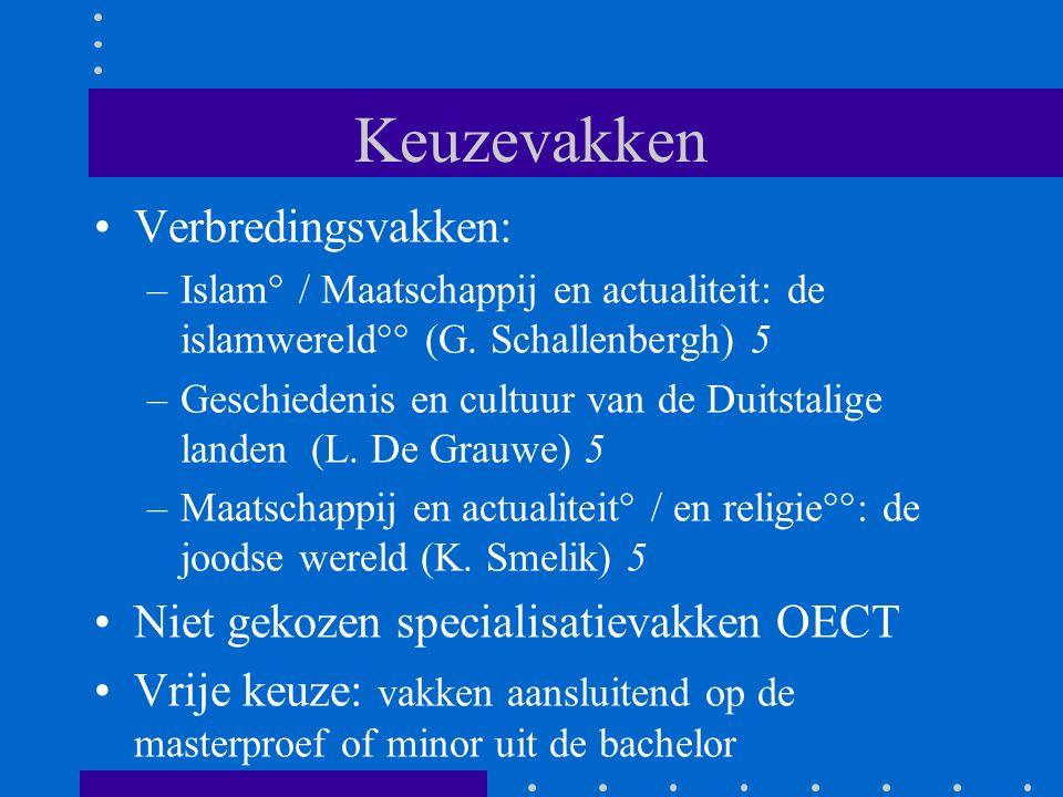 Keuzevakken Verbredingsvakken: –Islam° / Maatschappij en actualiteit: de islamwereld°° (G. Schallenbergh) 5 –Geschiedenis en cultuur van de Duitstalig