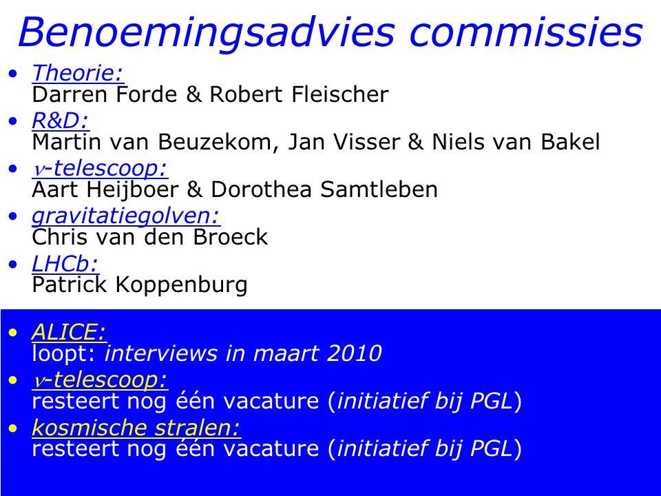 14/19 Benoemingsadvies commissies Theorie: Darren Forde & Robert Fleischer R&D: Martin van Beuzekom, Jan Visser & Niels van Bakel -telescoop: Aart Hei