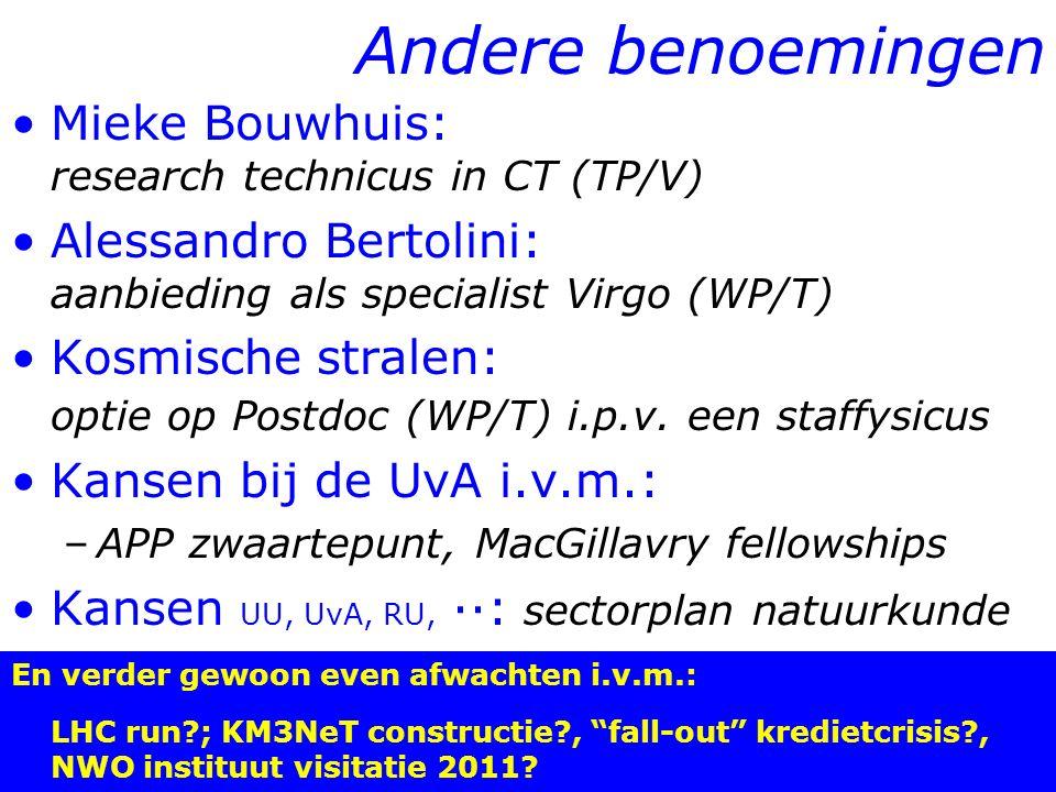 15/19 Andere benoemingen Mieke Bouwhuis: research technicus in CT (TP/V) Alessandro Bertolini: aanbieding als specialist Virgo (WP/T) Kosmische stralen: optie op Postdoc (WP/T) i.p.v.