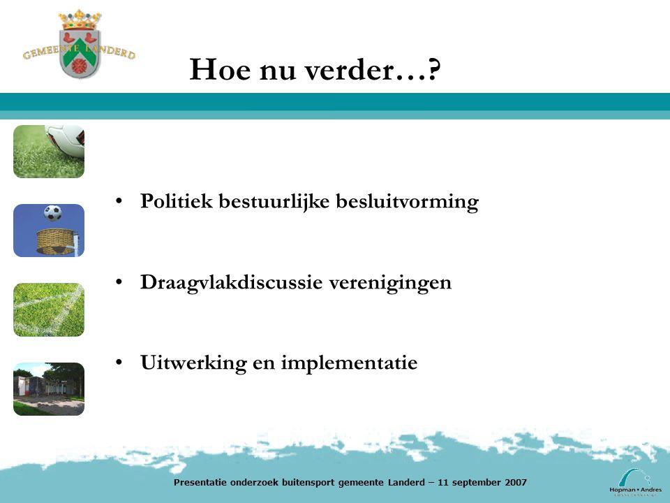 Politiek bestuurlijke besluitvorming Draagvlakdiscussie verenigingen Uitwerking en implementatie Presentatie onderzoek buitensport gemeente Landerd – 11 september 2007
