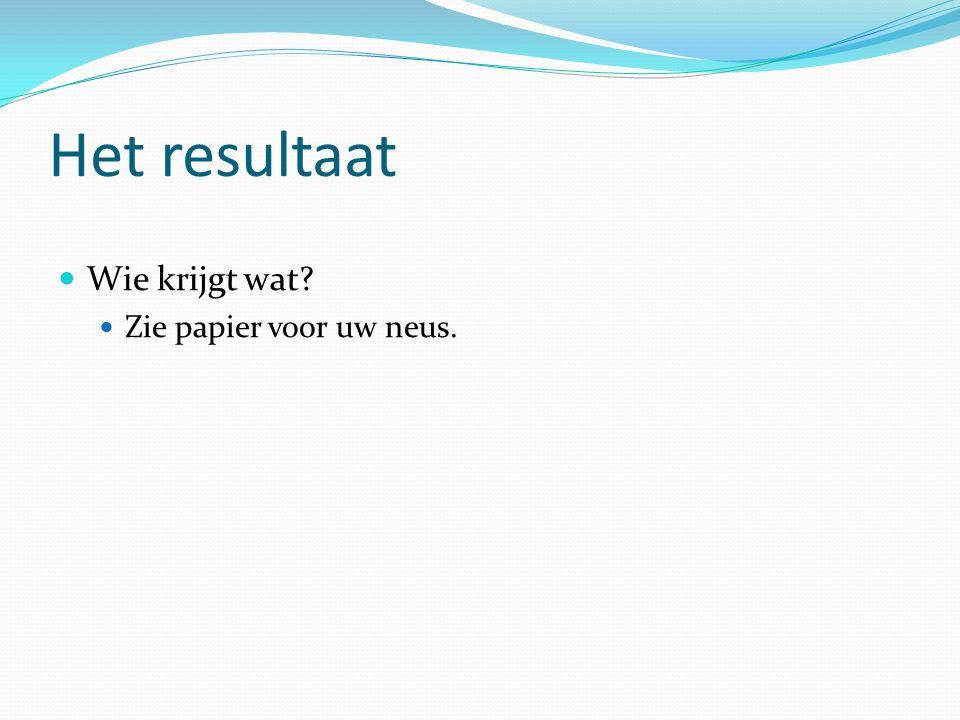 Het resultaat Wie krijgt wat Zie papier voor uw neus.