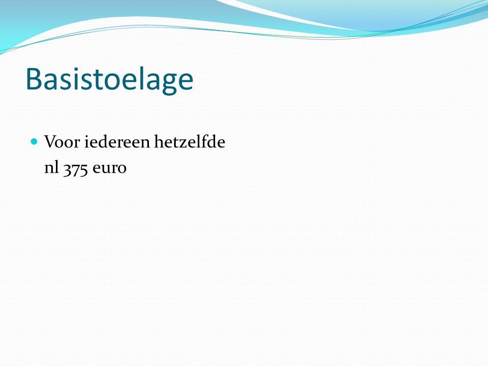 Basistoelage Voor iedereen hetzelfde nl 375 euro