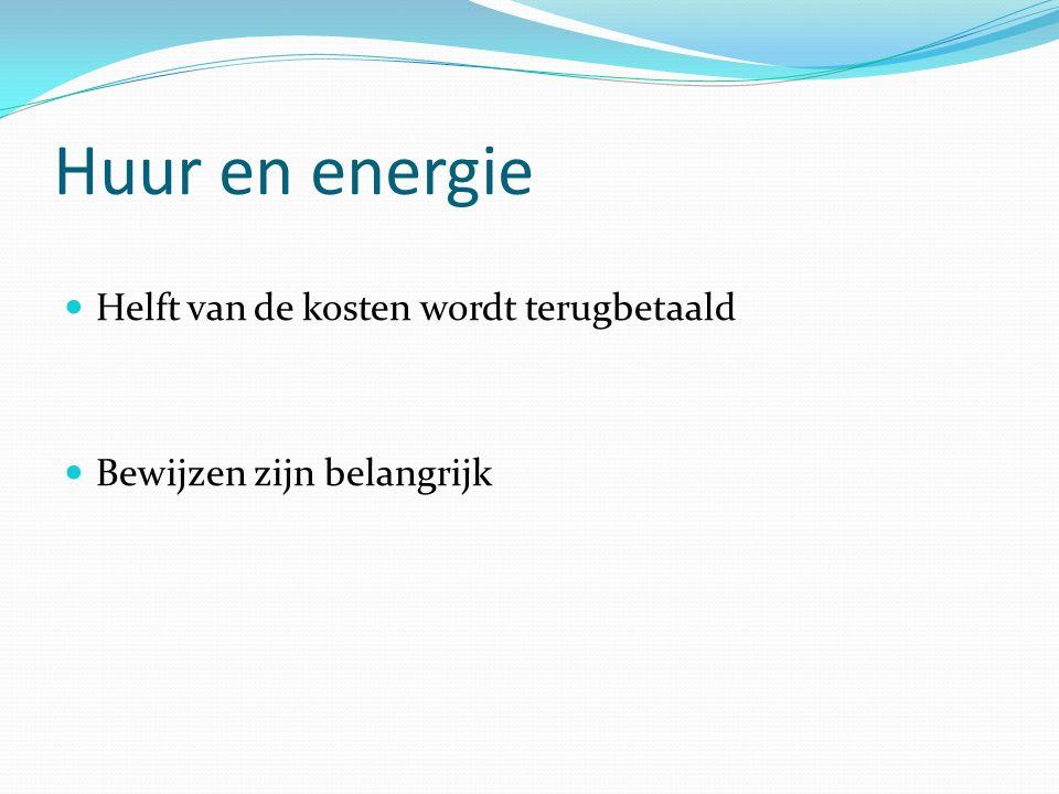 Huur en energie Helft van de kosten wordt terugbetaald Bewijzen zijn belangrijk
