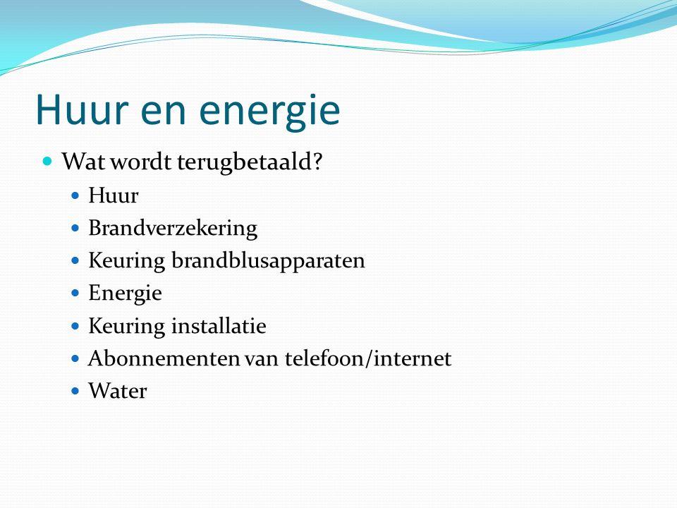 Huur en energie Wat wordt terugbetaald.