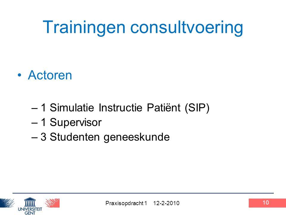 Praxisopdracht 1 12-2-2010 Trainingen consultvoering Actoren –1 Simulatie Instructie Patiënt (SIP) –1 Supervisor –3 Studenten geneeskunde 10