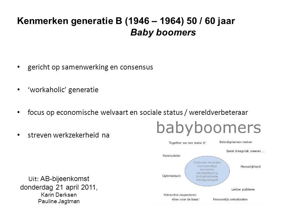 Kenmerken generatie X (1965 – 1977) 40 jaar minder loyaal tegenover de werkgever minder werkzekerheid flexibiliteit op het werk kans om nieuwe technologieën te gebruiken Uit: AB-bijeenkomst donderdag 21 april 2011, Karin Derksen Pauline Jagtman