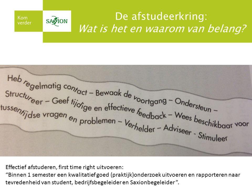"""De afstudeerkring: Wat is het en waarom van belang? Effectief afstuderen, first time right uitvoeren: """"Binnen 1 semester een kwalitatief goed (praktij"""