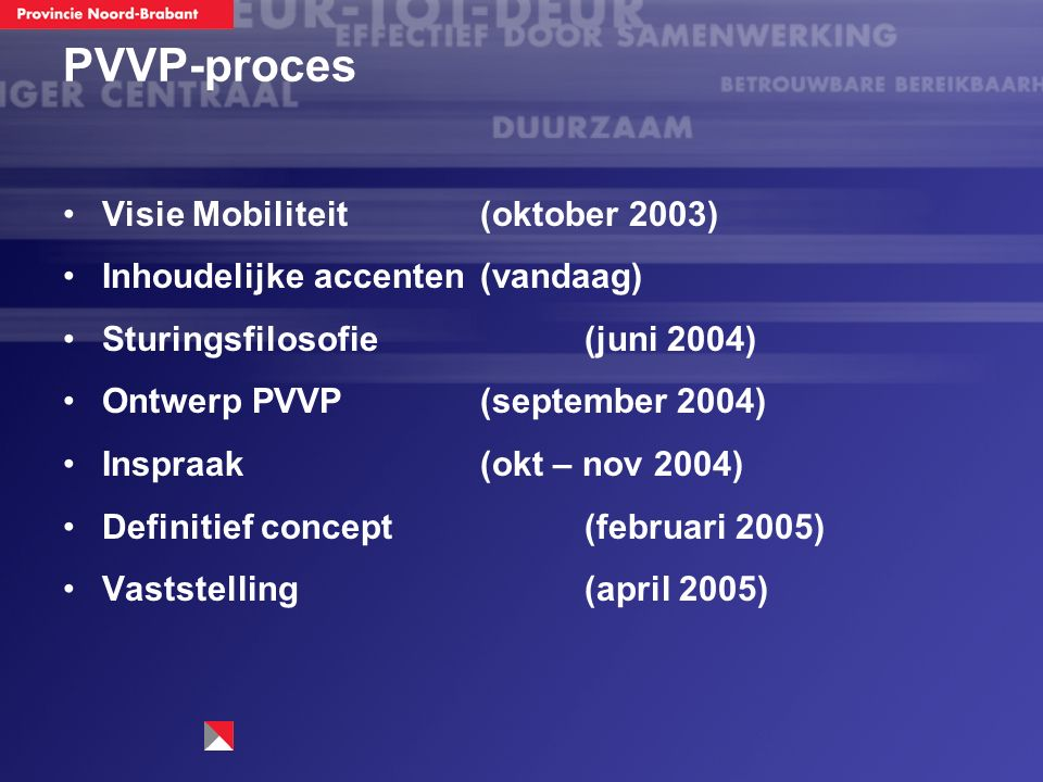 PVVP-proces Visie Mobiliteit (oktober 2003) Inhoudelijke accenten (vandaag) Sturingsfilosofie (juni 2004) Ontwerp PVVP (september 2004) Inspraak (okt – nov 2004) Definitief concept (februari 2005) Vaststelling (april 2005)
