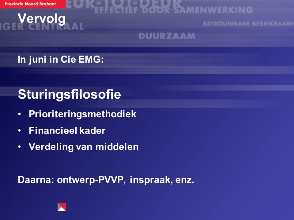 Vervolg In juni in Cie EMG: Sturingsfilosofie Prioriteringsmethodiek Financieel kader Verdeling van middelen Daarna: ontwerp-PVVP, inspraak, enz.