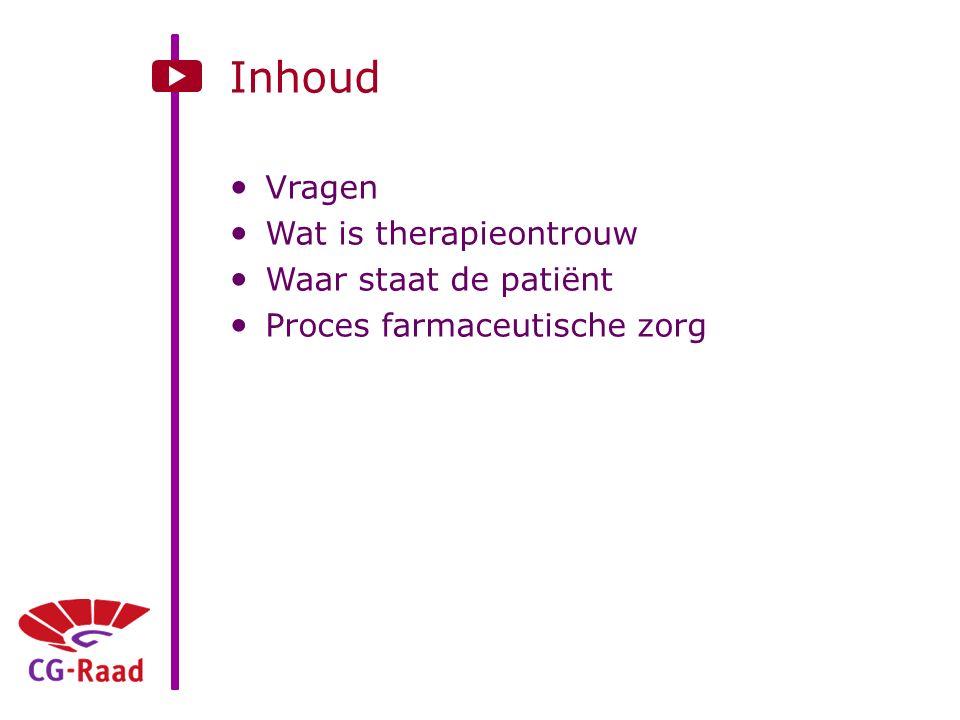 Inhoud Vragen Wat is therapieontrouw Waar staat de patiënt Proces farmaceutische zorg