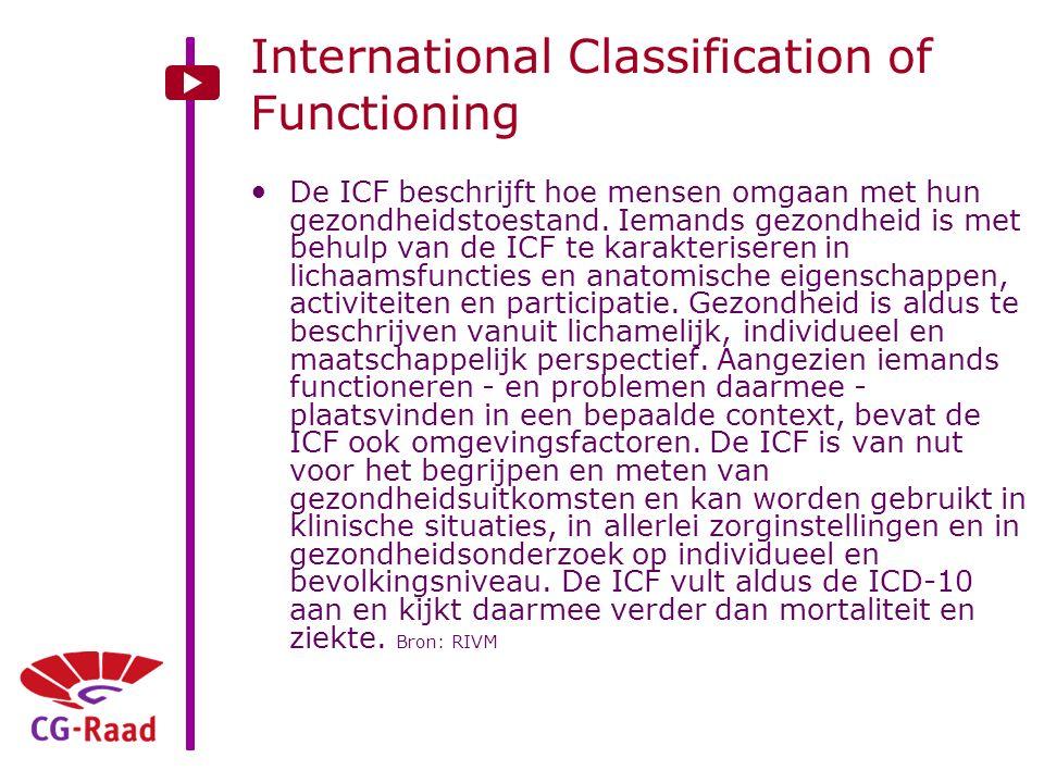 International Classification of Functioning De ICF beschrijft hoe mensen omgaan met hun gezondheidstoestand. Iemands gezondheid is met behulp van de I