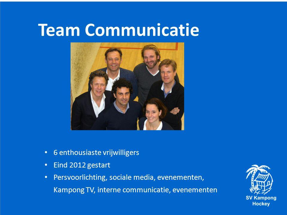 Team Communicatie 6 enthousiaste vrijwilligers Eind 2012 gestart Persvoorlichting, sociale media, evenementen, Kampong TV, interne communicatie, evenementen