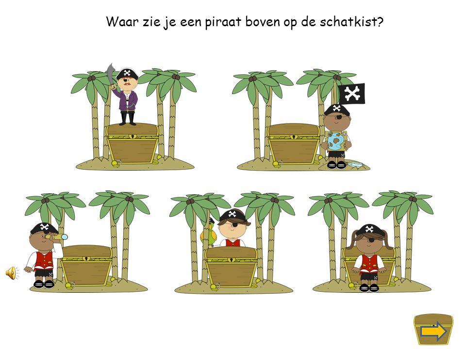 Waar zie je een piraat achter de schatkist staan?