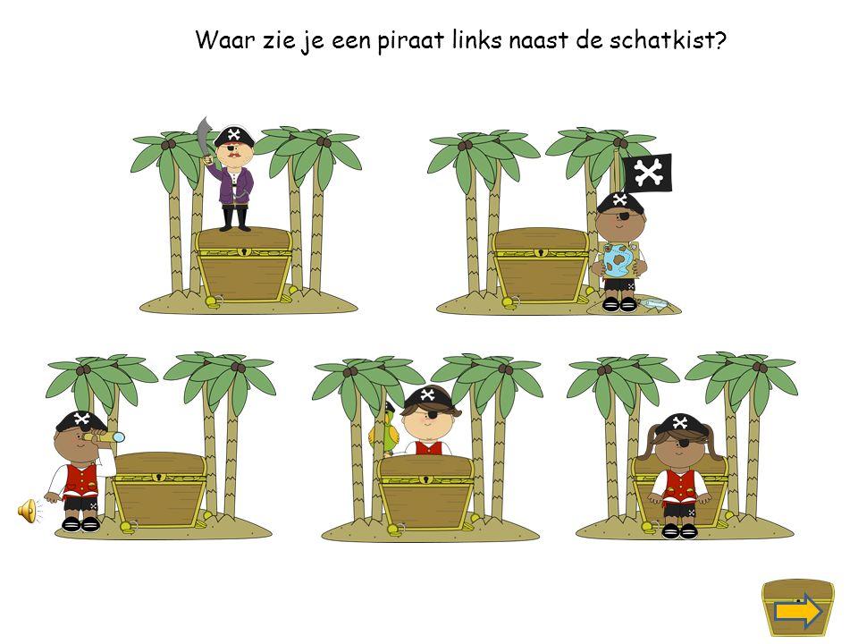 Waar zie je een piraat rechts naast de schatkist