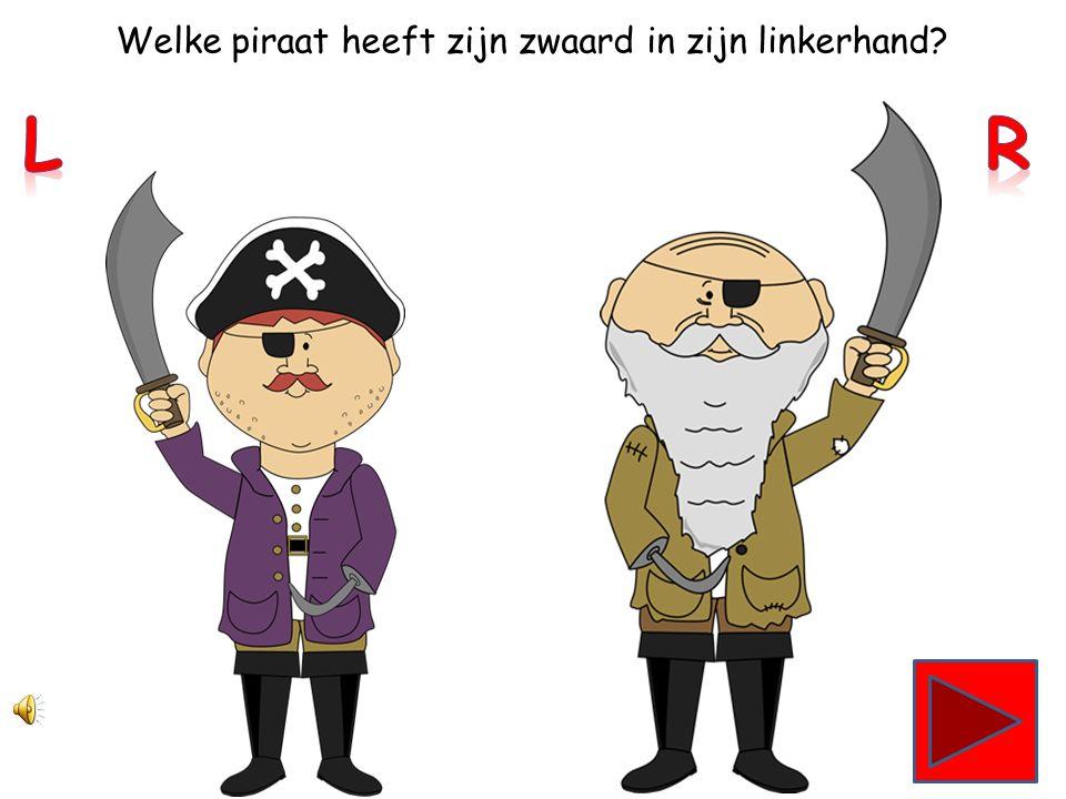 Welke piraat heeft zijn zwaard in zijn rechterhand?