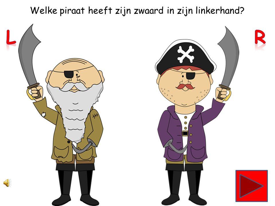 Welke piraat heeft zijn zwaard in zijn linkerhand?