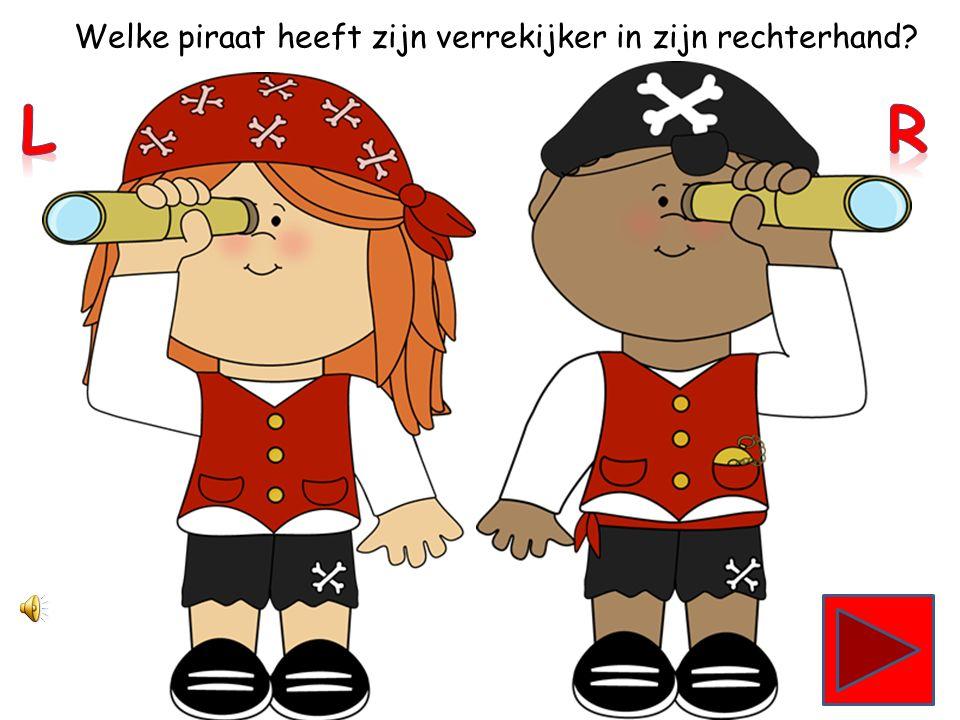 Welke piraat heeft zijn verrekijker in zijn linkerhand?