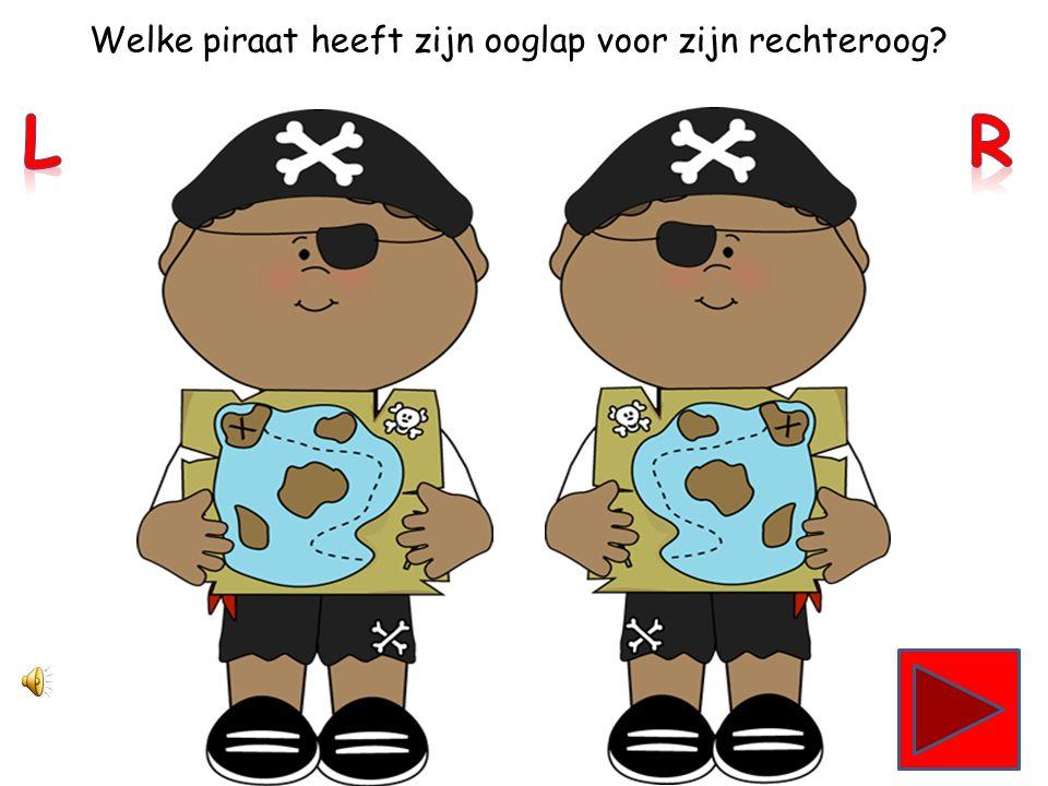 Welke piraat heeft zijn verrekijker in zijn rechterhand?