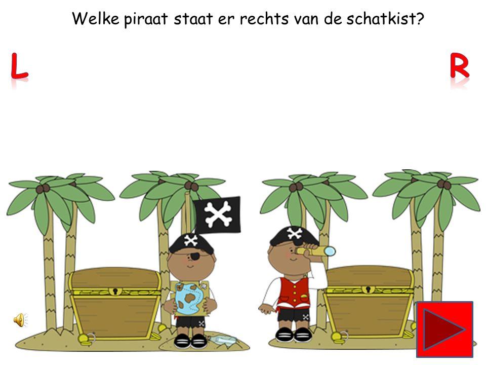 Welke piraat staat er links van de schatkist?