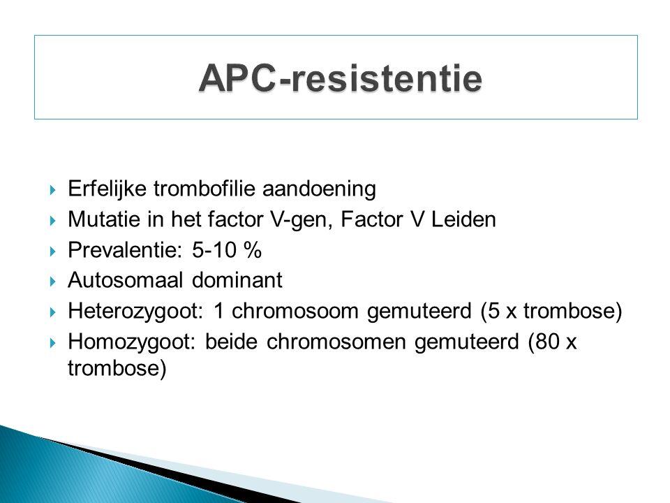  Erfelijke trombofilie aandoening  Mutatie in het factor V-gen, Factor V Leiden  Prevalentie: 5-10 %  Autosomaal dominant  Heterozygoot: 1 chromosoom gemuteerd (5 x trombose)  Homozygoot: beide chromosomen gemuteerd (80 x trombose)