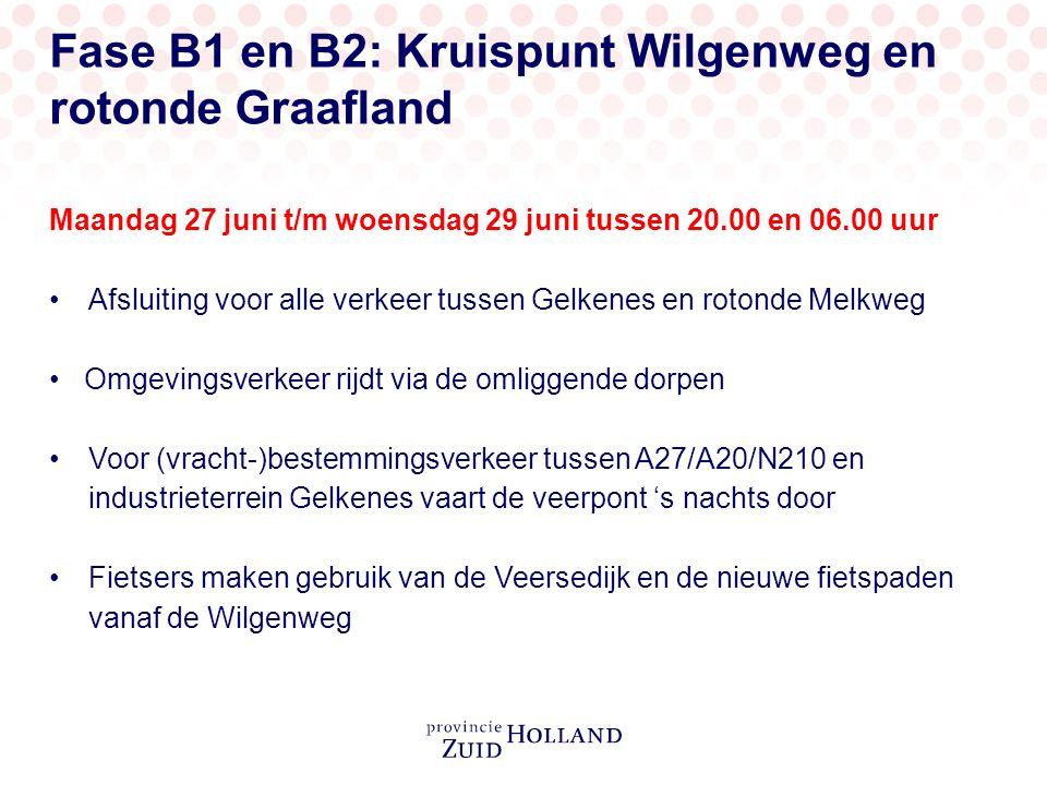 Fase B1 en B2: Kruispunt Wilgenweg en rotonde Graafland Maandag 27 juni t/m woensdag 29 juni tussen 20.00 en 06.00 uur Afsluiting voor alle verkeer tussen Gelkenes en rotonde Melkweg Omgevingsverkeer rijdt via de omliggende dorpen Voor (vracht-)bestemmingsverkeer tussen A27/A20/N210 en industrieterrein Gelkenes vaart de veerpont 's nachts door Fietsers maken gebruik van de Veersedijk en de nieuwe fietspaden vanaf de Wilgenweg