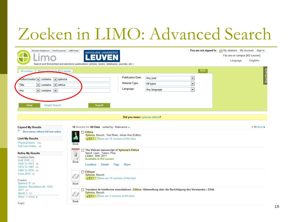 16 Zoeken in LIMO: Advanced Search
