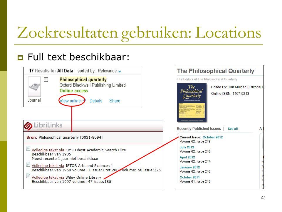 27 Zoekresultaten gebruiken: Locations  Full text beschikbaar: