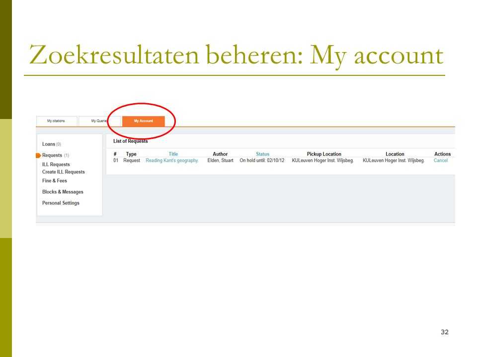 32 Zoekresultaten beheren: My account