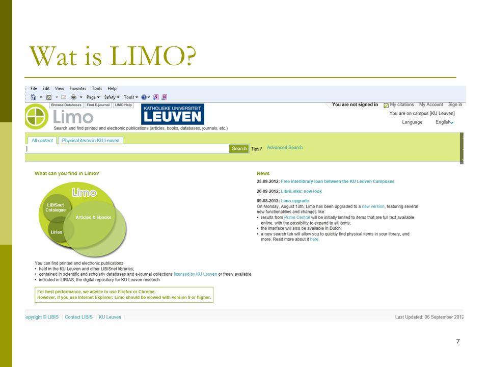 18 Zoeken in LIMO  Limit my results: resultatenlijst beperken Physical items = fysieke ex.