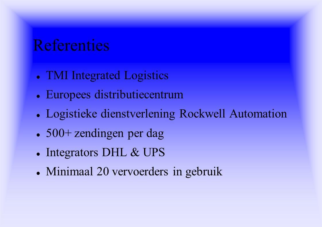 Referenties TMI Integrated Logistics Europees distributiecentrum Logistieke dienstverlening Rockwell Automation 500+ zendingen per dag Integrators DHL & UPS Minimaal 20 vervoerders in gebruik