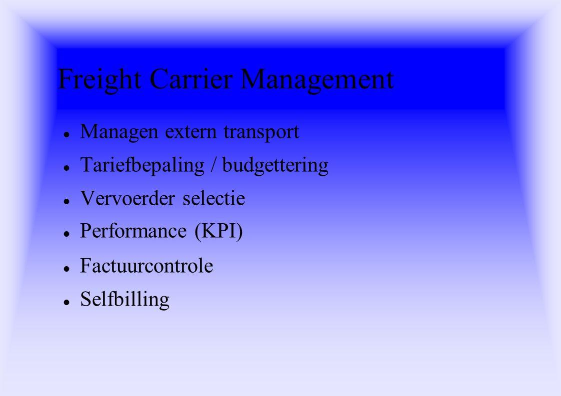 Freight Carrier Management Managen extern transport Tariefbepaling / budgettering Vervoerder selectie Performance (KPI) Factuurcontrole Selfbilling