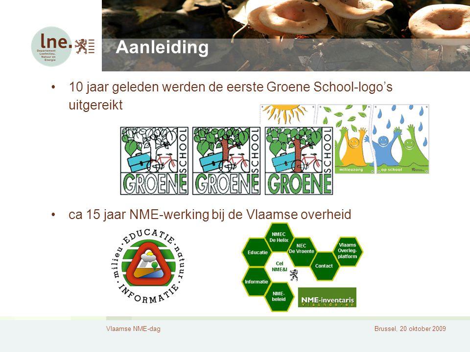 Vlaamse NME-dagBrussel, 20 oktober 2009 Aanleiding 10 jaar geleden werden de eerste Groene School-logo's uitgereikt ca 15 jaar NME-werking bij de Vlaamse overheid